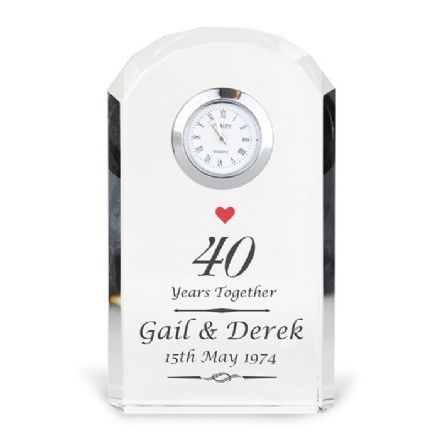 Personalised 40th Ruby Wedding Anniversary Crystal Clock